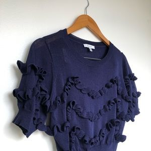 Lucky Paris Ruffle Sweater Crop